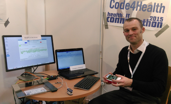 Richard Robinson HSCIC demonstrating Raspberry Pis connecting through the NHS Spine for tele-health at EHI Live 2015